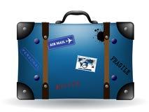Vecchia illustrazione blu della valigia di corsa Immagini Stock Libere da Diritti