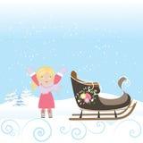 Vecchia illustrazione di vettore del bambino della slitta di inverno di Natale del fiocco di neve felice della neve Fotografie Stock Libere da Diritti
