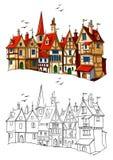 Vecchia illustrazione europea di vettore della città Fotografie Stock