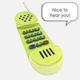 Vecchia illustrazione lucida gialla di chiamata di telefono del microtelefono immagini stock