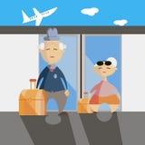 Vecchia illustrazione piana di vettore della donna e dell'uomo di paia di viaggio Immagini Stock Libere da Diritti