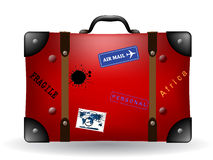 Vecchia illustrazione rossa della valigia di corsa Fotografia Stock