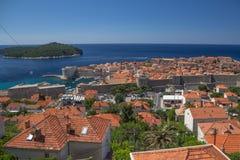 Vecchia isola della città e di Lokrun di Ragusa da sopra Fotografie Stock Libere da Diritti