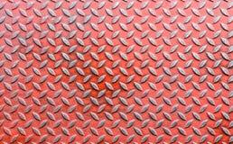 Vecchia lamina di metallo rossa del diamante Fotografia Stock Libera da Diritti