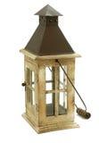 Vecchia lampada di legno della candela isolata su bianco Fotografie Stock