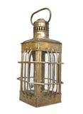 Vecchia lanterna d'ottone dell'olio isolata. Fotografia Stock Libera da Diritti