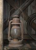 Vecchia lanterna su un portico del paese Fotografia Stock