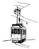Vecchia linea tranviaria a Lisbona Immagini Stock Libere da Diritti