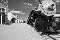 Vecchia locomotiva di vapore ad ovest della città Fotografie Stock Libere da Diritti