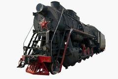 Vecchia locomotiva nera Fotografie Stock