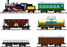 Vecchia locomotiva a vapore con i vagoni royalty illustrazione gratis