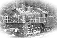 Vecchia locomotiva a vapore di tiraggio immagine stock libera da diritti