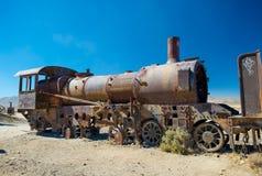 Vecchia locomotiva a vapore nel cimitero del treno, Uyuni - Bolivia Fotografie Stock