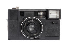 Vecchia macchina fotografica analogica del telemetro sul formato del film 35mm isolata su un fondo bianco Fotografie Stock