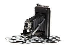 Vecchia macchina fotografica con i blocchi per grafici della foto Fotografia Stock Libera da Diritti