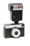 Vecchia macchina fotografica con un flash Immagini Stock