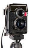 Vecchia macchina fotografica dell'gemellare-obiettivo Fotografia Stock