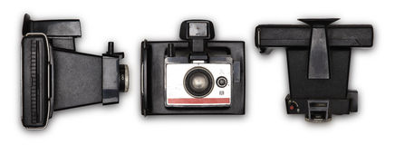 Vecchia macchina fotografica della foto della polaroid Immagini Stock