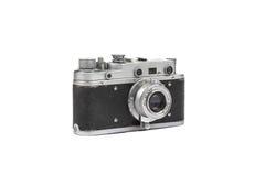 Vecchia macchina fotografica della pellicola isolata su bianco Fotografia Stock