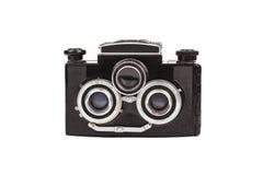 Vecchia macchina fotografica della pellicola isolata su bianco Fotografia Stock Libera da Diritti