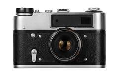 Vecchia macchina fotografica della pellicola su priorità bassa bianca fotografia stock libera da diritti