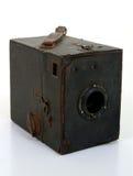 Vecchia macchina fotografica di casella nel caso del Brown Lwather Fotografia Stock