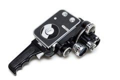 Vecchia macchina fotografica di film 16 millimetri con tre obiettivi Immagine Stock Libera da Diritti