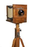 Vecchia macchina fotografica di legno Fotografia Stock