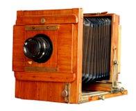 Vecchia macchina fotografica di legno della foto Fotografie Stock Libere da Diritti