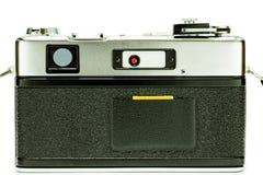 Vecchia macchina fotografica e area vuota per testo, macchina da presa classica dell'isolato del fotografo su fondo bianco Fotografia Stock