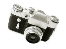 Vecchia macchina fotografica isolata su bianco Fotografie Stock