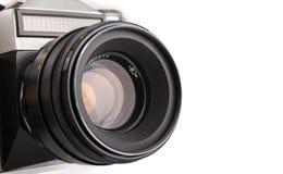 Vecchia macchina fotografica isolata su un bianco Fotografia Stock