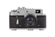 Vecchia macchina fotografica manuale su fondo bianco Fotografia Stock