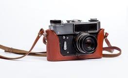Vecchia macchina fotografica nel caso Fotografie Stock