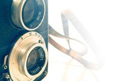 Vecchia macchina fotografica nera della foto Fotografie Stock Libere da Diritti
