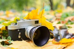 Vecchia macchina fotografica sulle foglie di autunno gialle con le vecchie negazioni Immagine Stock Libera da Diritti