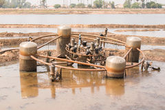 Vecchia macchina sulla riva di un lago Fotografia Stock