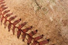 Vecchia macro di baseball Fotografie Stock Libere da Diritti