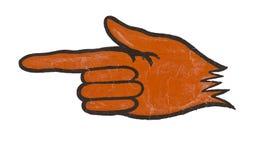 Vecchia mano verniciata che indica segno Fotografia Stock Libera da Diritti