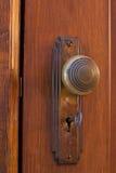 Vecchia manopola di porta con la chiave Fotografie Stock