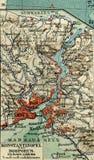 Vecchia mappa dall'atlante geografico, 1890 L'impero ottomano turco La Turchia Costantinopoli, il Bosphorus Fotografia Stock Libera da Diritti