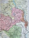 Vecchia mappa 1945 degli stati centrafricani compreso la Rodesia ed il Belgian Congo Immagini Stock