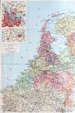 Vecchia mappa 1945 dei Paesi Bassi o dell'Olanda Fotografia Stock
