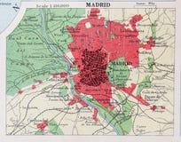 Vecchia mappa 1945 del dintorni di Madrid, Spagna Fotografie Stock