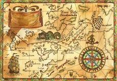 Vecchia mappa del pirata con la nave, l'insegna e la rosa dei venti Fotografia Stock