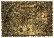 Vecchia mappa del pirata di terra sconosciuta con le creature di fantasia illustrazione di stock