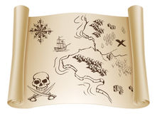 Vecchia mappa del tesoro sul rotolo Immagine Stock Libera da Diritti