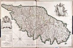 Vecchia mappa della Corsica, Francia Fotografie Stock