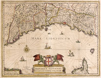 Vecchia mappa della Liguria, Italia Immagine Stock Libera da Diritti