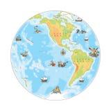 Vecchia mappa della marina Emisfero ad ovest Immagine Stock Libera da Diritti